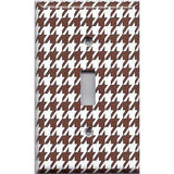 Single Toggle Light Switch Cover in Chocolate Brown & White Houndstooth- Simply Chic Gal