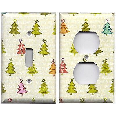 Pretty Shimmery Christmas Trees Handmade Light Switch Plates & Outlet Covers- Simply Chic Gal