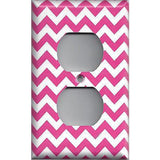 Wall Outlet Plate Cover in Hot Pink Chevron Zig Zag Print