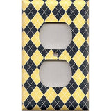 Wall Outlet Cover in Yellow & Navy Blue Argyle Diamonds Handmade- Simply Chic Gal