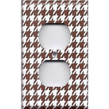 Wall Outlet Cover in Chocolate Brown & White Houndstooth- Simply Chic Gal