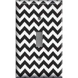 Black Chevron Pattern Single Toggle Light Switch Plate Cover- Handmade Home Decor - Simply Chic Gal