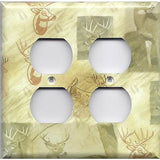 4 Plug Outlet Cover in Whitetail Deer Log Cabin Decor