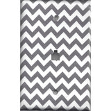 Phone Jack Cover in Silver Charcoal Gray Chevron Print