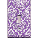 Bright Purple/Violet & White Intricate Damask Floral Single Toggle Light Switch Plate