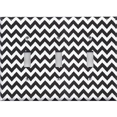 Black Chevron Pattern Triple Light Switch Plate Cover- Handmade Home Decor - Simply Chic Gal