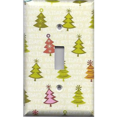 Single Light Switch Plate Cover in Pretty Shimmery Christmas Trees Handmade- Simply Chic Gal