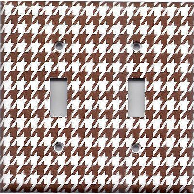 Double Toggle Light Switch Cover in Chocolate Brown & White Houndstooth- Simply Chic Gal