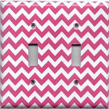 Double Toggle Light Switch Cover in Hot Pink Chevron Zig Zag Print