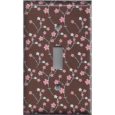 Brown with Pink & White Small Flowers/Floral Single Toggle Light Switch Cover
