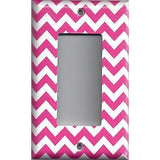 Single Rocker Decora GFI Outlet Cover in Hot Pink Chevron Zig Zag Print