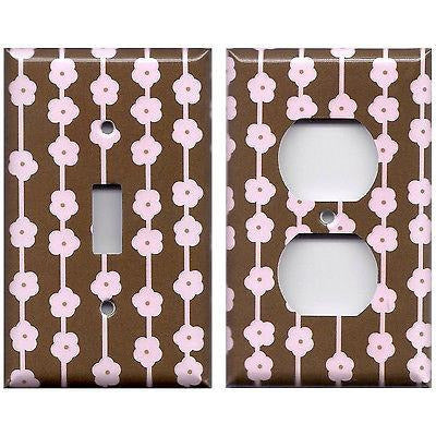 Brown & Light Pink Flowers Floral Ribbons Handmade Light Switch & Outlet Covers- Simply Chic Gal