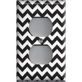Black Chevron Pattern Wall Outlet Cover- Handmade Home Decor - Simply Chic Gal