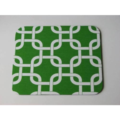 Bright Emerald Green Modern White Squares Links Print Mouse Pad