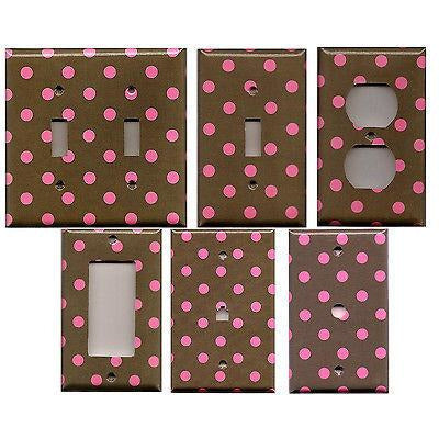 Dark Chocolate Brown w/ Bright Hot Pink Polka Dots Switchplates & Outlet Covers - Simply Chic Gal