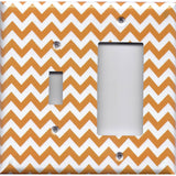 Combo Light Switch and Rocker GFI Outlet Cover in Orange & White Chevron Print- Simply Chic Gal