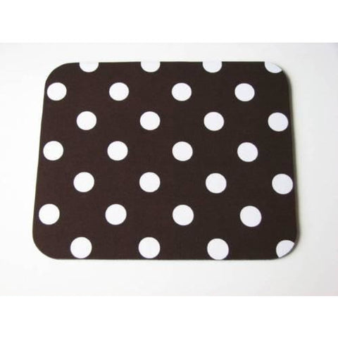 Dark Chocolate Brown with White Polka Dots Print Mouse Pad High Quality - Simply Chic Gal