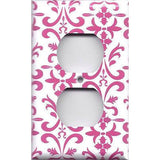 Wall Outlet Cover in Hot Pink Damask Filigree Scrolls Handmade- Simply Chic Gal