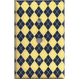 Cable Jack Cover in Yellow & Navy Blue Argyle Diamonds Handmade- Simply Chic Gal