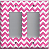 Double Rocker Decora Light Switch Cover in Hot Pink Chevron Zig Zag Print