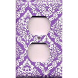 Bright Purple/Violet & White Intricate Damask Floral Wall Outlet Cover