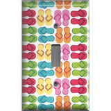 Single Toggle Light Switch Plate in Colorful Flip Flops Beach House Home Decor