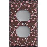 Brown with Pink & White Small Flowers/Floral Outlet Cover
