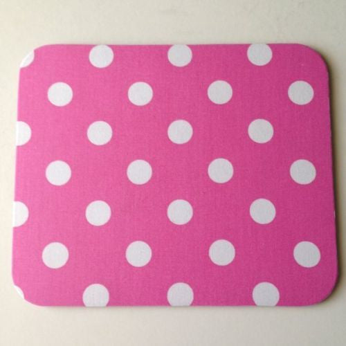 Bubblegum Pink & White Polka Dots Mouse Pad High Quality Office Desk Decor