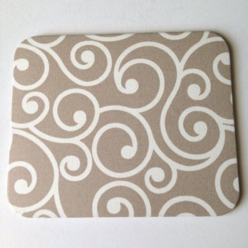 Khaki/Tan and Ivory Beige Swirls Mouse Pad High Quality Office Desk Decor