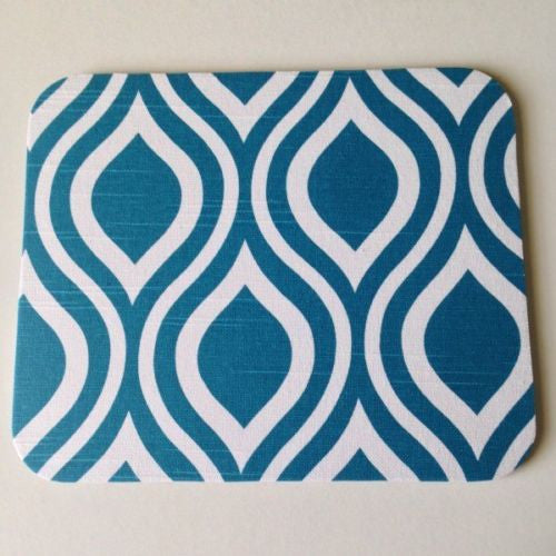 Turquoise/Teal Blue Emily Aquarius Waves Mouse Pad High Quality - Simply Chic Gal