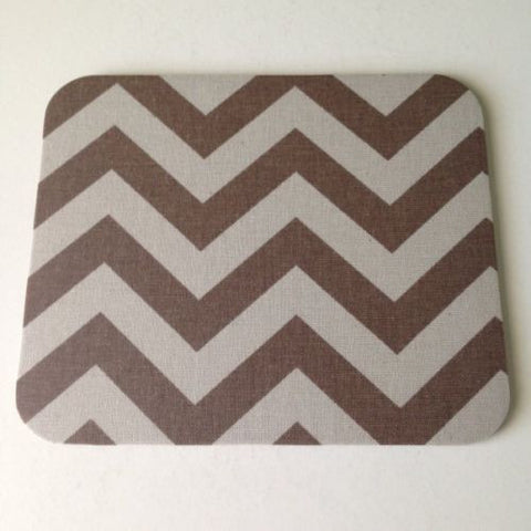 Khaki/Tan Burlap Brown Chevron Print Mouse Pad High Quality Office Desk Decor - Simply Chic Gal