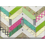 Shabby Chic County Multi Color Chevron Stripes Light Switchplates Outlet Covers