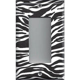 Single Rocker Deora GFI Outlet Cover in Zebra Stripes Black & White Animal Print