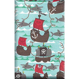 Single Blank Cover in Pirate Ships and Sharks Boys Room Handmade- Simply Chic Gal