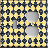 Combo Light Switch and Outlet Cover in Yellow & Navy Blue Argyle Diamonds Handmade- Simply Chic Gal