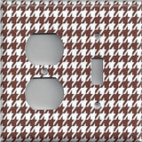 Combo Light Switch and Outlet Cover in Chocolate Brown & White Houndstooth- Simply Chic Gal