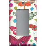 Single Rocker Decora GFI Outlet Cover in in Hippie 60's Butterflies on Light Cream- Simply Chic Gal