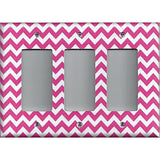 Triple Rocker Decora Light Switch Cover in Hot Pink Chevron Zig Zag Print
