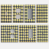Yellow & Navy Blue Argyle Diamonds Handmade Light Switch Plates & Outlet Covers- Simply Chic Gal