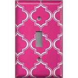 Hot Pink and White Quatrefoil Lattice Light Switchplates & Outlet Covers - Simply Chic Gal
