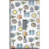 Single Toggle Light Switch Cover in Summer Beach Theme Sail Boats, Sea Shells