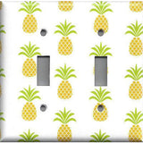 Double Toggle Light Switch Cover in Tropical Pineapple Hawaiian Decor