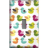 Single Toggle Light Switch Cover in  Woodland Nursery Decor Multi Color Baby Ducks