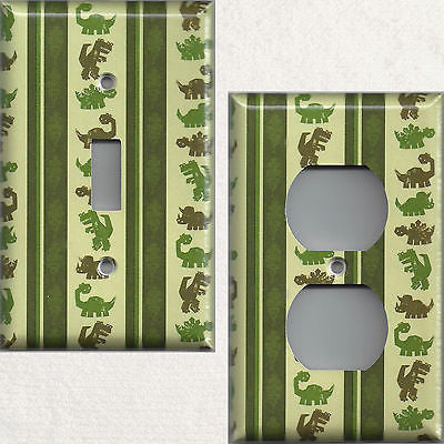 Jurassic Green Dinosaurs Boys Bedroom Decor Light Switchplates & Wall Outlet Covers
