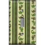Single Toggle Light Switch Cover in Green Dinosaurs Boys Bedroom Decor Handmade- Simply Chic Gal