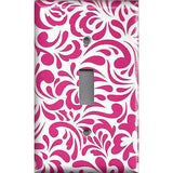 Single Toggle Light Switch Plate Cover in Hot Pink Retro Filigree Swirls Handmade- Simply Chic Gal