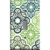 Green Damask Medallions Light Switchplates & Outlet Covers Olive Teal Sage Green - Simply Chic Gal