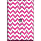 Phone Jack Cover in Hot Pink Chevron Zig Zag Print