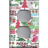 Wall Outlet Plate Cover in Christmas Trees Snow Globe Snowman Handmade- Simply Chic Gal