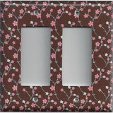 Brown with Pink & White Small Flowers/Floral Double Rocker Cover